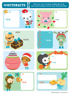 Octonauts christmas gift cards